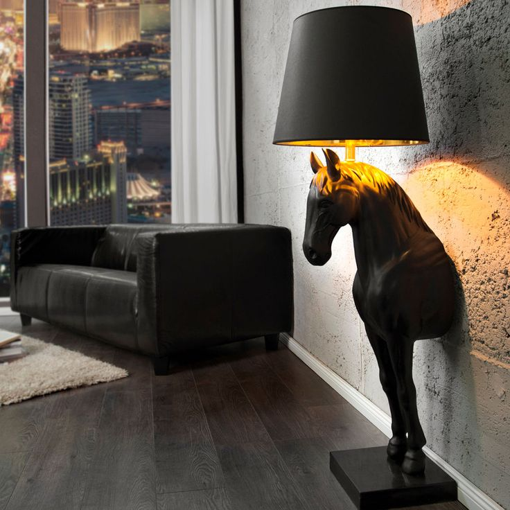 Extravagante Stehlampe Black Beauty Schwarz Pferd Mit Lampenschirm Stehleuchte Horse Room Decor Horse Room Statement Lighting