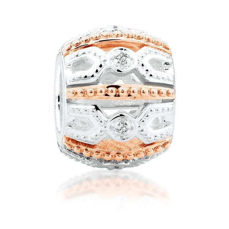 Diamond set, rose gold  sterling silver charm (11990086) #rosegold #emmaandroe