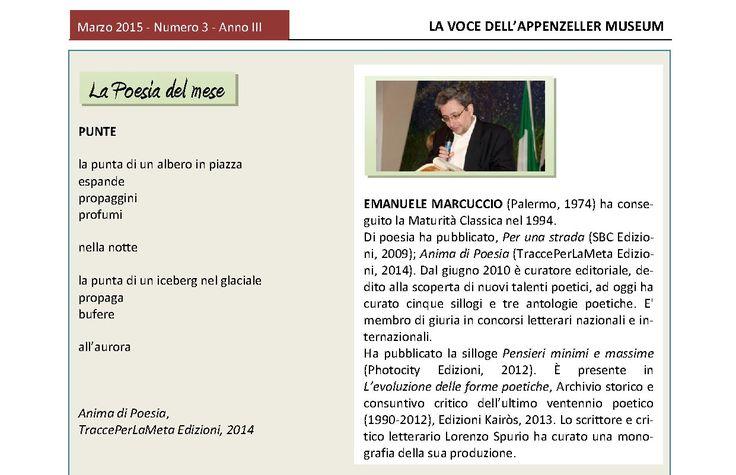 Marzo 2015, n.3, La Voce dell'Appenzeller Museum - Emanuele Marcuccio, Poeta del mese