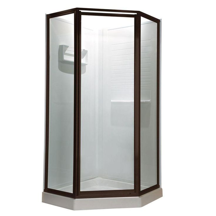American Standard Prestige 18.4 inch x 24.2 inch x 18.4 inch x 68.5 H Neo-Angle Shower Door in Oil Rubbed Bronze with Clear Glass 468704
