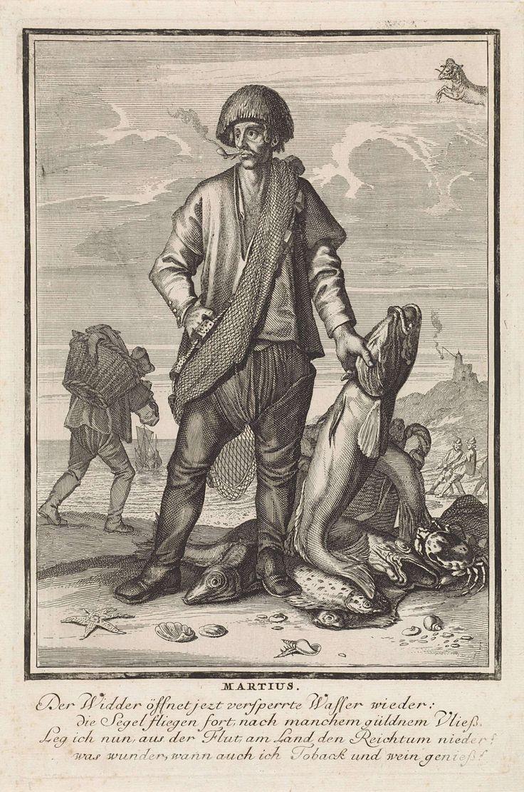 Caspar Luyken | Maart, Caspar Luyken, 1698 - 1702 | De maand maart. Een visser met zijn vangst, waaronder verschillende soorten vis en een krab. Op de achtergrond een vuurtoren en vissers aan het werk op het strand. De prent heeft een Duits onderschrift van vier regels over de maand maart.
