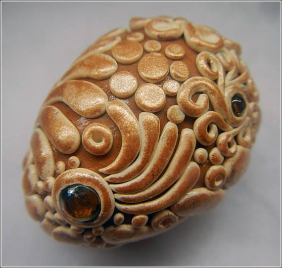 Dragon egg cream and brown/bronze with orange gems  polymer