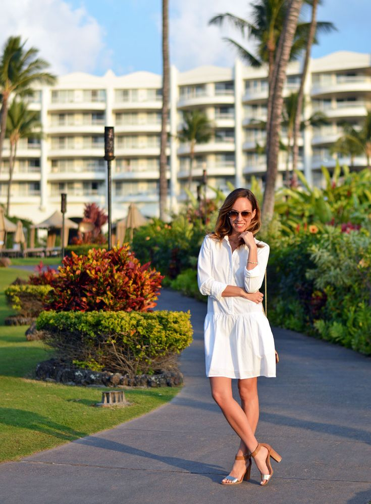 white shirt dress - Damsel x Splendid  Sydne Style - Hawaii Vacation Outfits Video