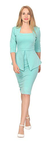 New Trending Formal Dresses: Marycrafts Womens Peplum Dress Work Office Vintage Pencil 1950s 8 Mint. Marycrafts Women's Peplum Dress Work Office Vintage Pencil 1950s 8 Mint  Special Offer: $48.90  433 Reviews How classy in this peplum dress it features a square neck, 3/4 sleeves, 2 hand pockets, copper back zipper, midi skirt. It is made of high quality ponte de roma fabric....