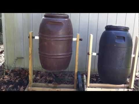 """How to build your own homemade compost tumbler     Materials:  1..... 45 gallon plastic drum ..... ($20)  2..... 2x6x10 boards .................. ($11.90)  1..... 1""""x36"""" black iron pipe ...... ($9.93)  2..... 1"""" black iron caps ............. ($2.36)  2..... 1.25"""" plastic spacers ........ ($1.10)    ..."""