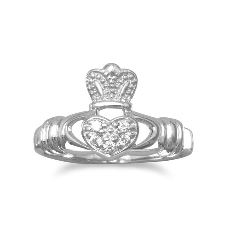 Our CZ Sterling Silver Claddagh Celtic Ring sparkles with genuine CZ stones. The classic heart and crown shape of the Claddagh is a timeless Celtic symbol.  Genuine sterling silver.
