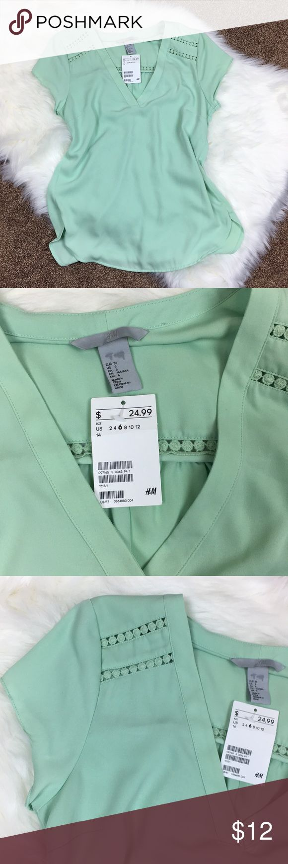 NWT H&M Mint Blouse H&M Mint Blouse Darts and Lace Detail = Classy Must Have Size 6 Sharpie Marker on Inner Size Label as Shown in Picture H&M Tops Blouses