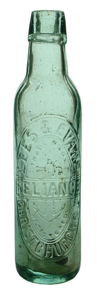 Embossing: Lees & Evans / Trade Mark / (Anchor) / Reliance / Registered / Christchurch. N Z. Base: KBC Monogram / 4457. (New Zealand) Type: Aerated Water Lamont /  Era: 1880s-1890s /  Variety: Applied top. Aqua. 10 oz. /  Height: 233 mm /  Condition: Very Good. General scuffiness. Some little marks around. A bit dirty inside. A fleabite or two around the lip. Good looking embossing. /  Grade: 7.3 /  Estimate:  $ 20 -  $ 30 #Bottles #Lamont #MADonC