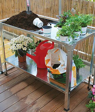 Workbench/Potting Table.  Rust proof galvanized steel.   @Burpee.com