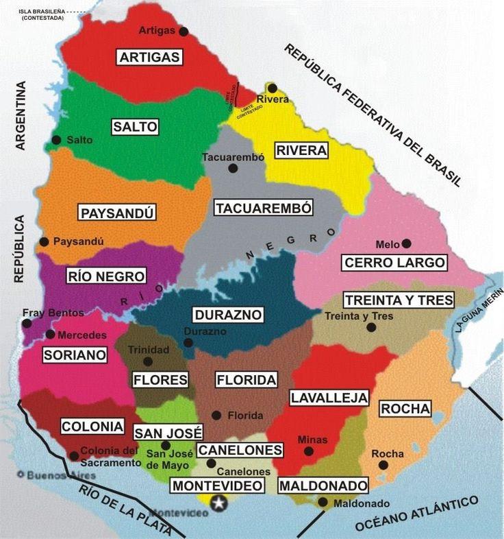 Mapa de Uruguay. La capital es Montevideo.