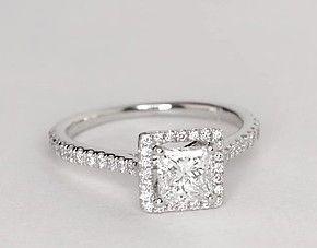Schwimmender Halo-Diamant-Verlobungsring im Prinzessschliff aus 14 Karat Weißgold …   – wedding rings princess cut