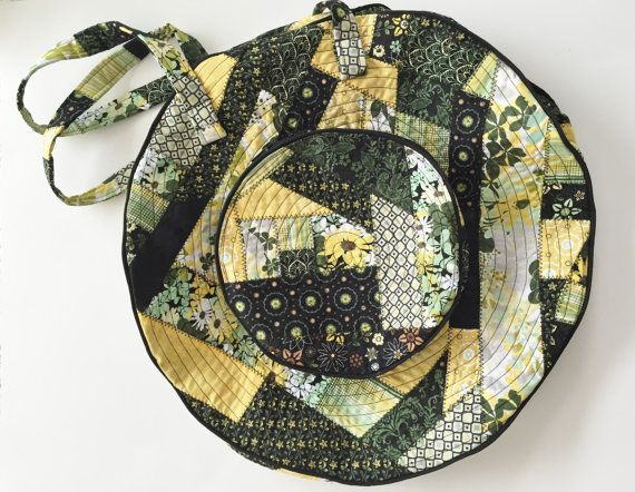 Quilted Shoulder Bag large round Free Domestic by WoolyBolly