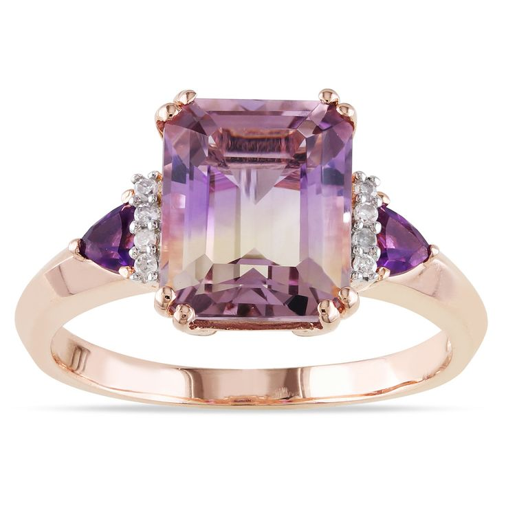 Miadora Rose Plated Silver 3 1/2ct TGW Ametrine, Amethyst and Diamond Ring with Bonus Earrings | Overstock™ Shopping - Top Rated Miadora Gemstone Rings