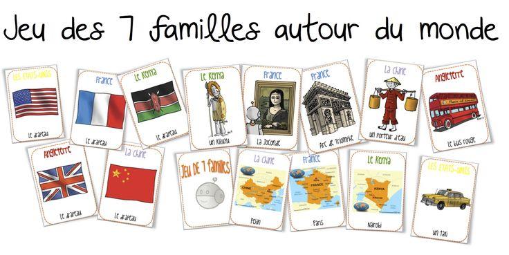 Jeu des 7 familles autour du monde. Attention le jeu demande aux joueurs de savoir lire pour savoir quelle carte demander.