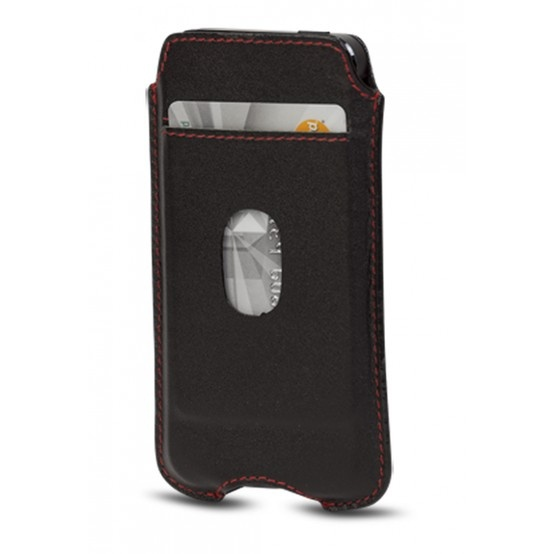 Smooth black cover w. pocket for iPhone 5 by dbramante1928. Price: $30. More information: www.dbramante1928.com.