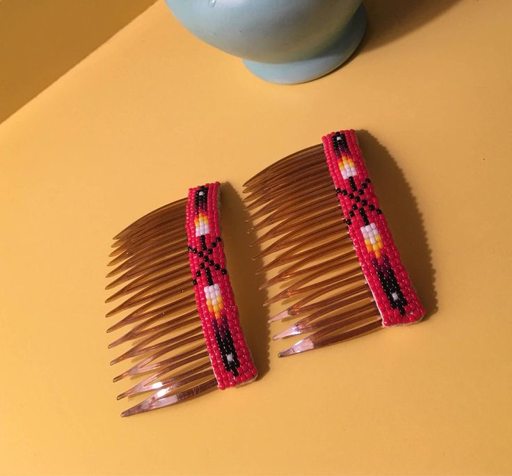 Excited to share the latest addition to my #etsy shop: A Nice Pair of Red Vintage Southwestern Seed Beaded Indian Arrow faux tortoise Hair Combs