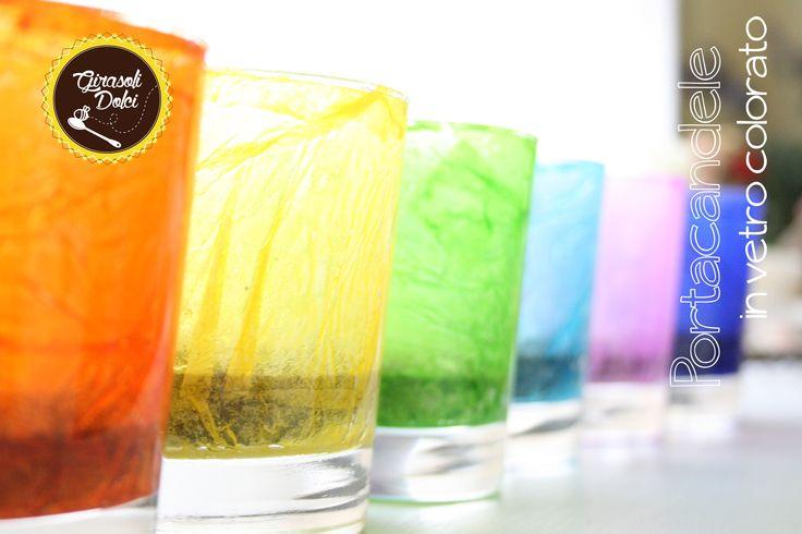 Portacandele in vetro colorato