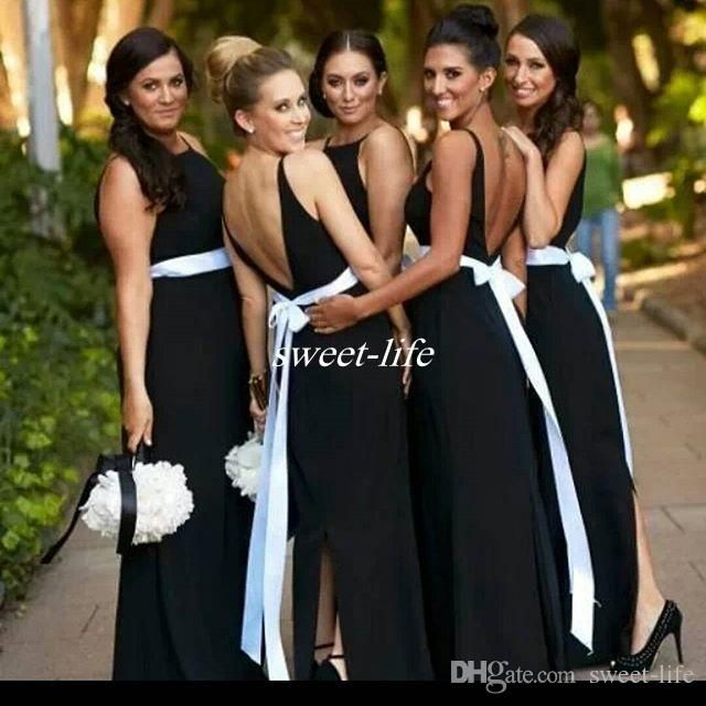 Elegant Black And White Bridesmaid Dresses Backless Sash Split Floor Length Chiffon 2016 Plus Size Wedding Maid of Honor Dress Evening Gowns Online with $68.01/Piece on Sweet-life's Store | DHgate.com
