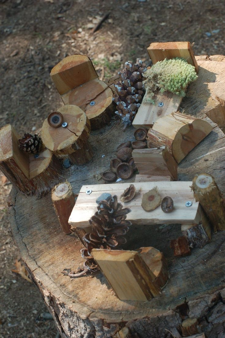 From The Aspetuck Land Trust Blog.  Great use of natural materials to entice outdoor dramatic play.