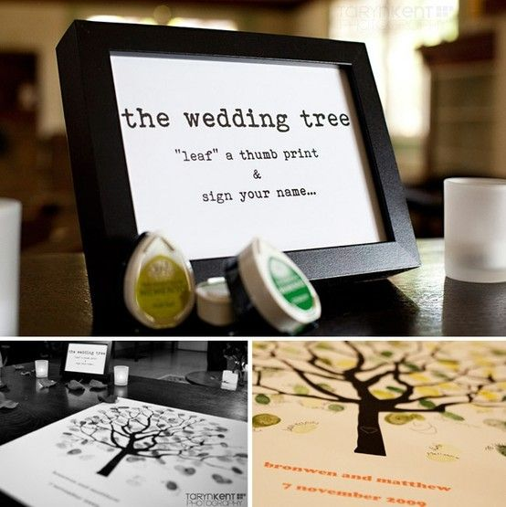 Could be messy, but kinda cute! Thumbprint wedding tree guestbook