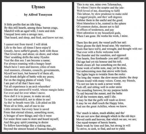 ulysses by alfred tennyson poem essay Starting with the poem ulysses, a dramatic monologue, published in 1842, is universally recognized as one of tennyson's finest poems that embody the victorian spirit of ceaselessly imbibing knowledge, and triumphing over the limitations posed by age, infirmity, and death.