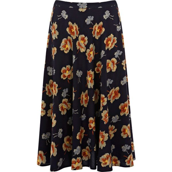 rusty floral midi skirt ($32) ❤ liked on Polyvore featuring skirts, bottoms, maxi skirt, women, wet look skirt, patterned skirts, calf length skirts, floral print skirt and high waisted midi skirt