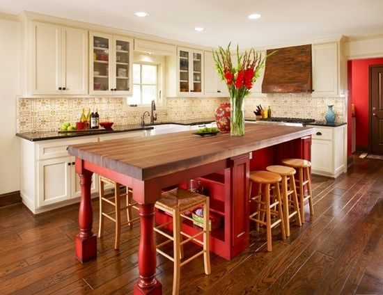 Farmhouse love the splash of red and that copper stove hood