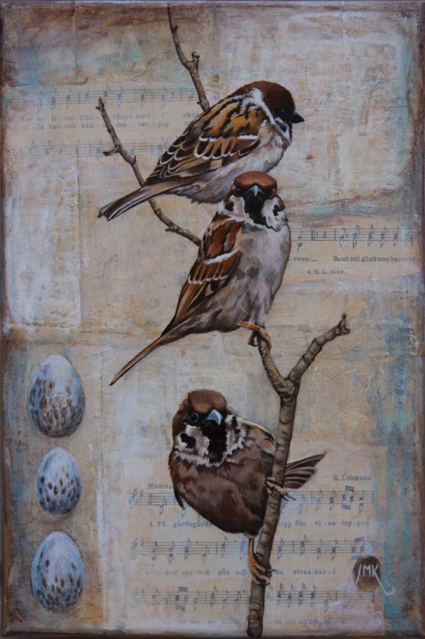 """""""The Three Musketeers"""" (acrylic, oil, and collage on canvas, 12×8) by Jenny Moed-Korpela, honorable mention in the Cloth Paper Scissors Mixed Media Excellence Awards #Birds #art"""