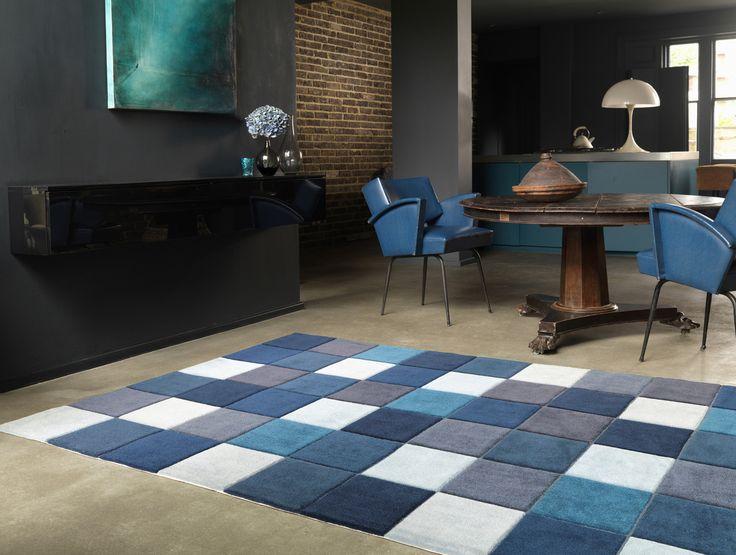 Living Eden Rugs 11 Pixel Blue Buy Online From The Rug Seller Uk