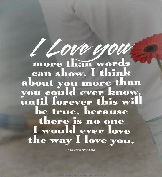 I love you more than words can show, I think about you more than you could ever know, until forever this will be true, because there is no one I would ever love the way I love you.