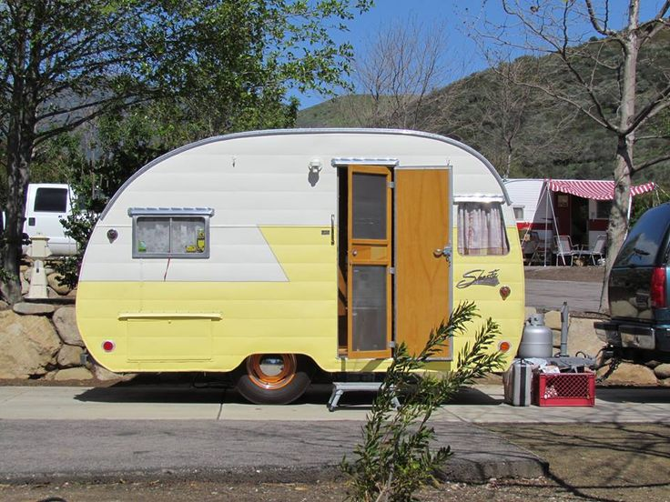 Another Yellow White Shasta Via Vintage Camper Trailers
