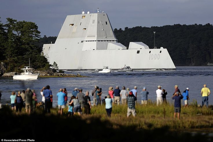 The future USS Zumwalt heads down the Kennebec River after leaving Bath Iron Works Wednesd...