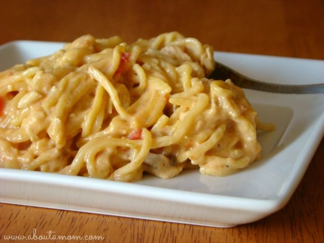 CrockPot Cheesy Chicken Spaghetti with Velveeta #VelveetaRecipes - About A Mom