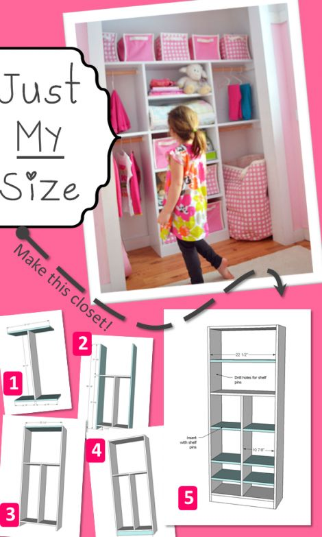 """""""Making a closet like this one is ridiculously easy.  And you can customize it to fit all of your needs.  We made most of the shelves adjustable, and positioned the rods to fit her dresses and shirts and pants."""""""