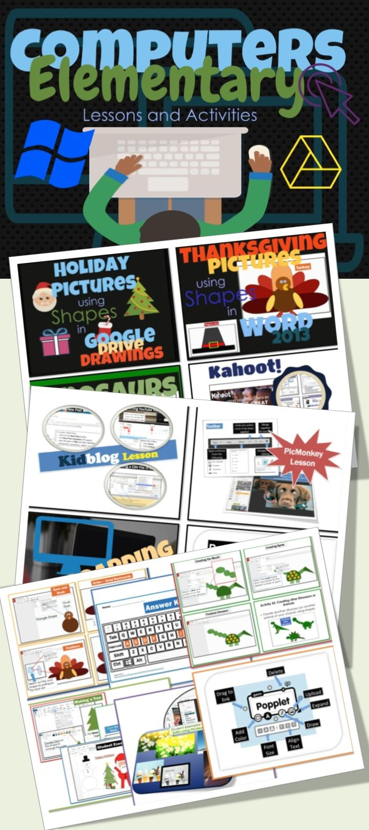 •	This is a bundle of activities for Elementary Students using a variety of programs including Microsoft Office, Google Drive and other free online software. •	Screen shots and easy to follow instruction bubbles are used to guide students through the activities.