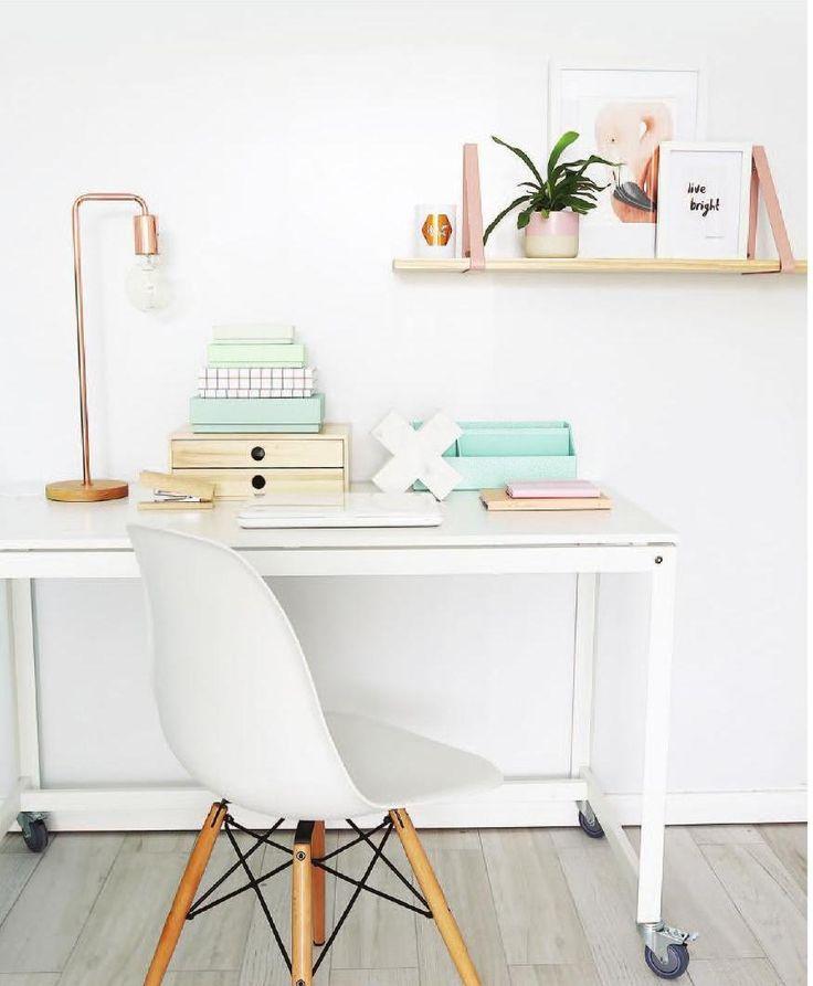 work space details   white + copper   open shelves   modern