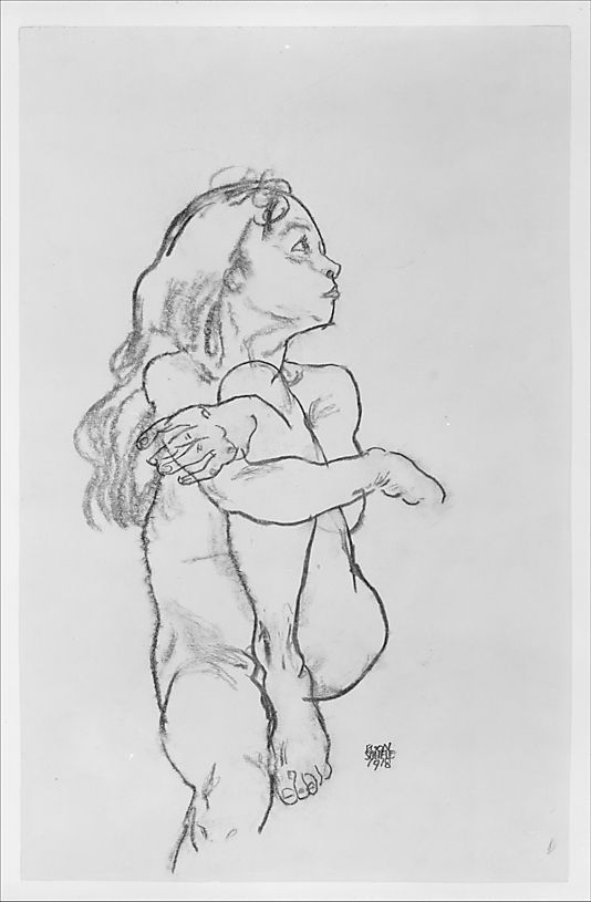 Seated Nude Girl Clasping Her Left Knee Egon Schiele (Austrian, Tulln 1890–1918 Vienna)