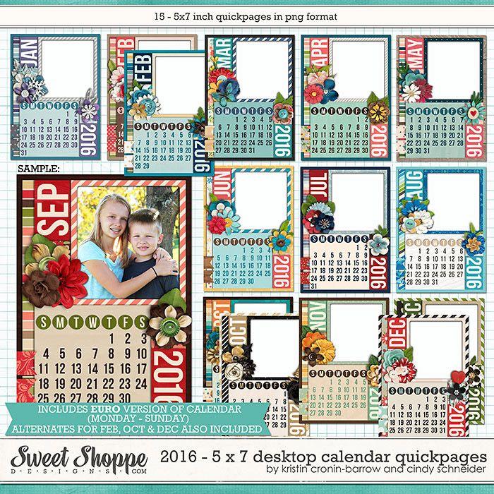 2016 5x7 Desktop Calendar Quickpages by Cindy Schneider and Kristin Cronin-barrow