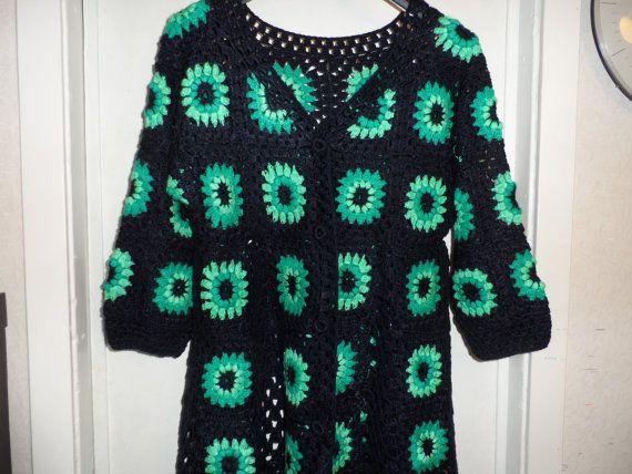SALE Crochet granny square dark blue teal peppermint by krittenart