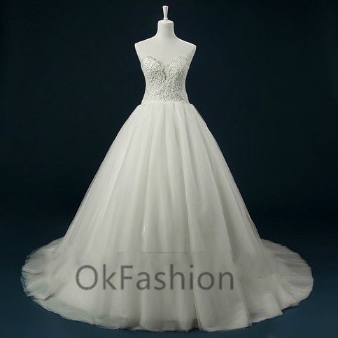 Custom White/Ivory Sexy Sweetheart Lace Applique Wedding Dress Bridal Gown
