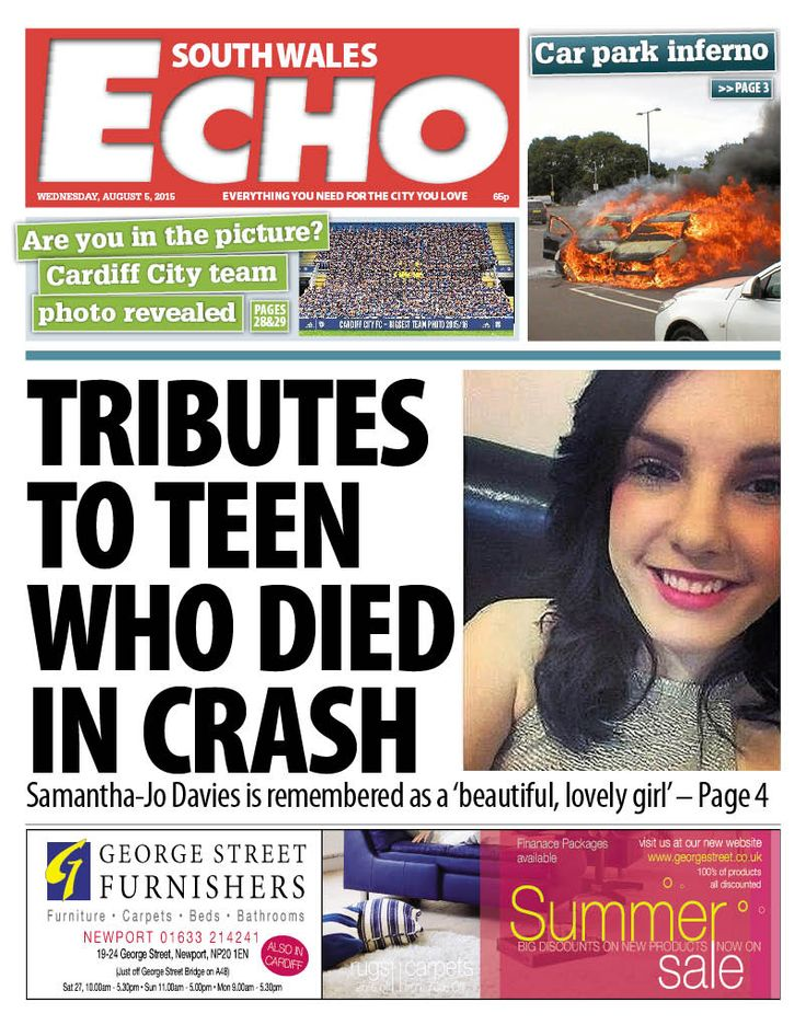 South Wales Echo. Wednesday, August 5, 2015. #Cardiff #News