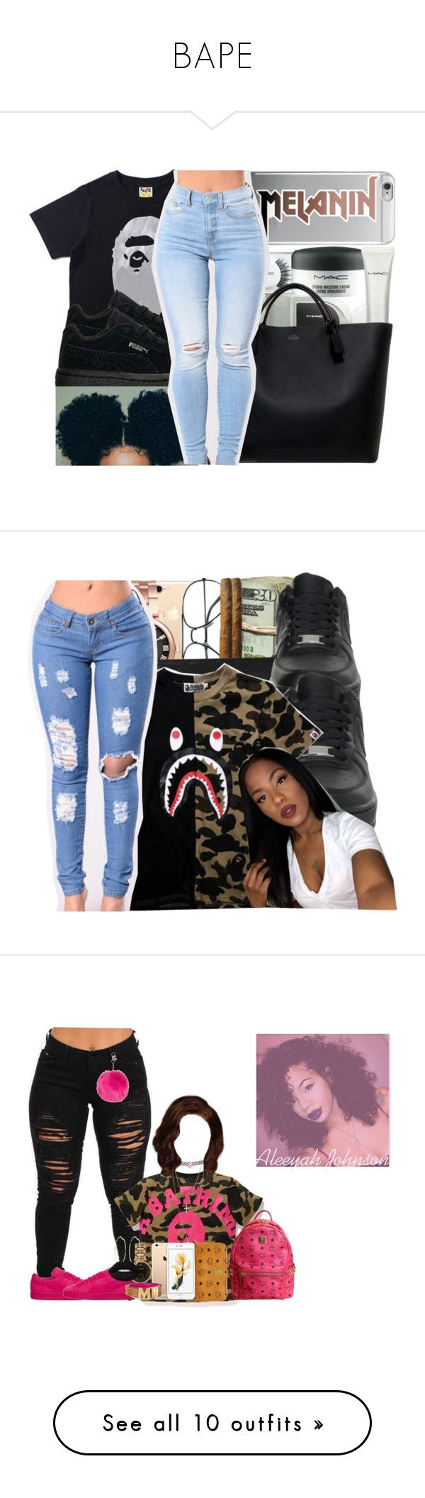 """""""BAPE"""" by uniquee-beauty ❤ liked on Polyvore featuring Smythson, Michael Kors, Chanel, NIKE, A BATHING APE, MICHAEL Michael Kors, Accessorize, MCM, River Island and Topshop"""