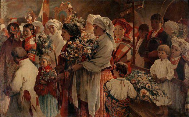 Obraz Witolda Pruszkowskiego, ucznia Jana Matejki, zatytułowany: Procesja zielna (znany też jako: Niedziela zielna).
