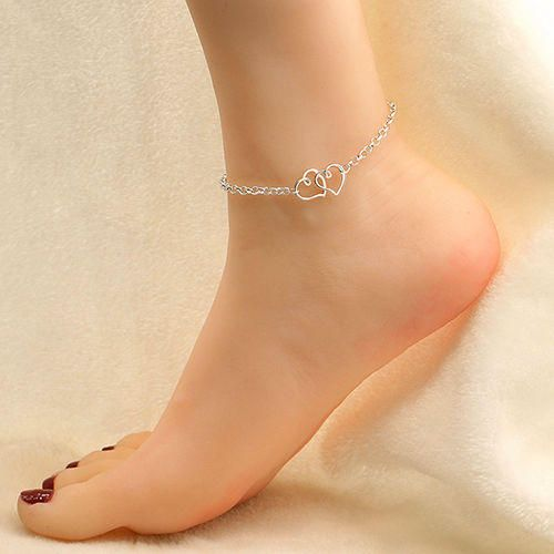 Silver or gold double heart anklet women anklet beach