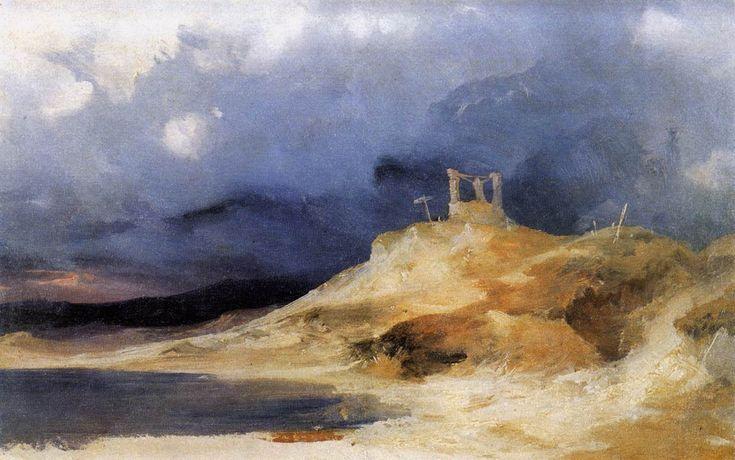 Carl Blechen -  Schaffold in storm