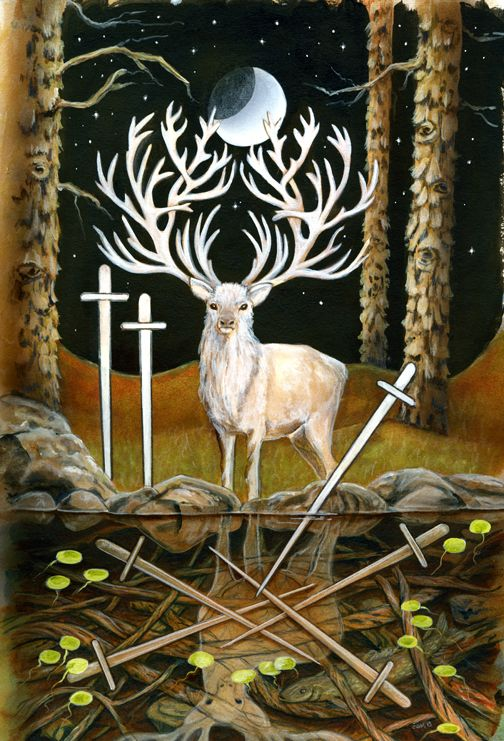 The Star Tarot - Cathy McClelland - This is a deck in progress. The Majors have been completed and the Minors are in process. One of the most exciting and beautiful decks I have seen. This is the Seven of Swords.