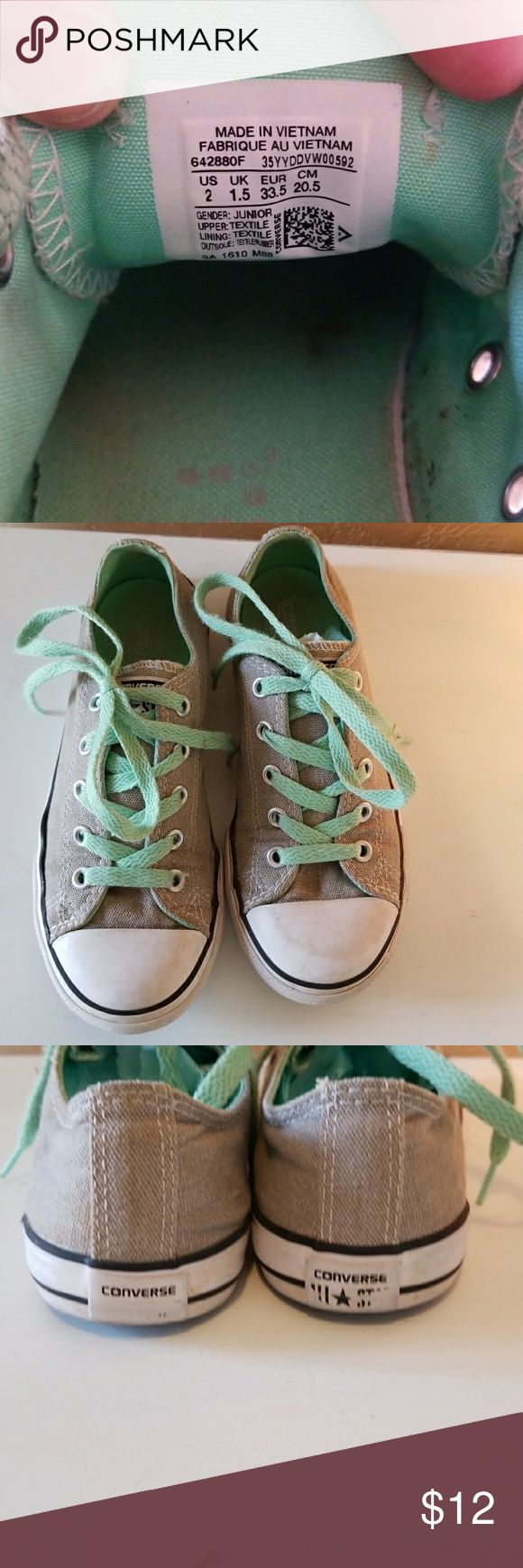 Converse Shoes Gray and Teal kids size 2 Converse Shoes Gray and Teal kids size 2. For sure used and has some scuffs as shown in the photos. From a smoke free home. Converse Shoes Sneakers