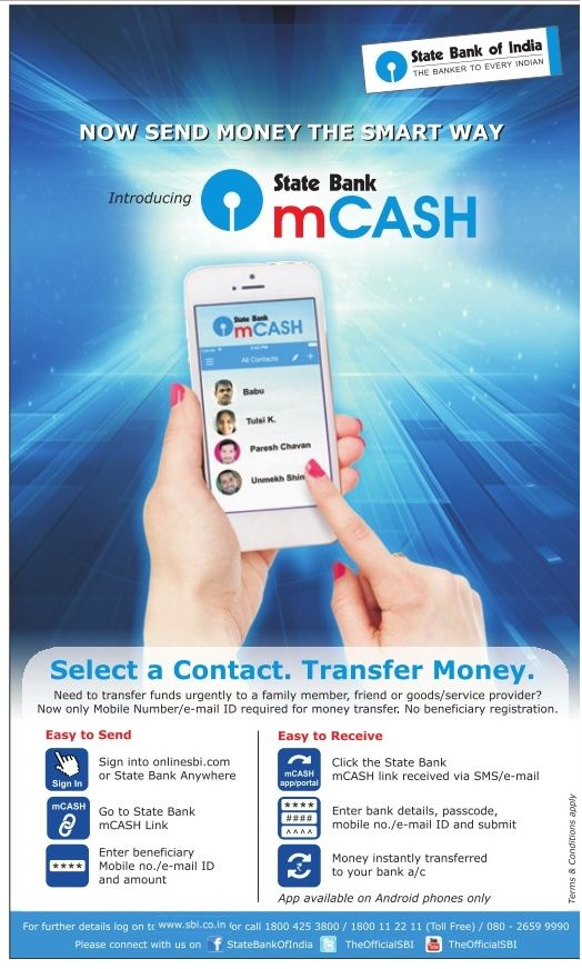 SBI mCash is easy and quick money transfer service.SBI mCash allows SBI customer to transfer money to anyone.