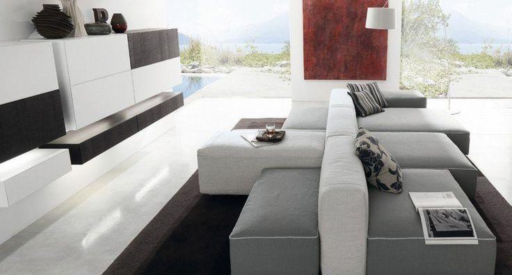 canapé gris et blanc modulaire, design Gruppo Euromobil                                                                                                                                                                                 Plus