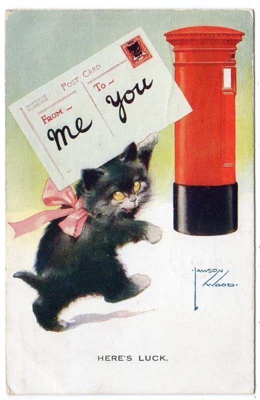 1927 Here's Luck Lawson Wood Black Cat Kitten Comic Postcard | eBay